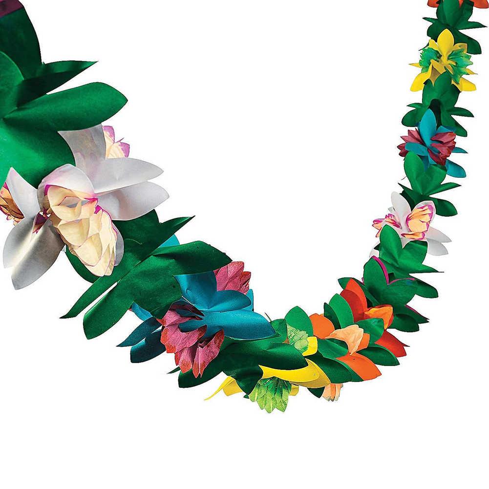 3 メートルティッシュ花花輪熱帯ハワイルアウパーティー装飾ハワイ祭カラフルな紙 lahua 誕生日紙 lahua M8