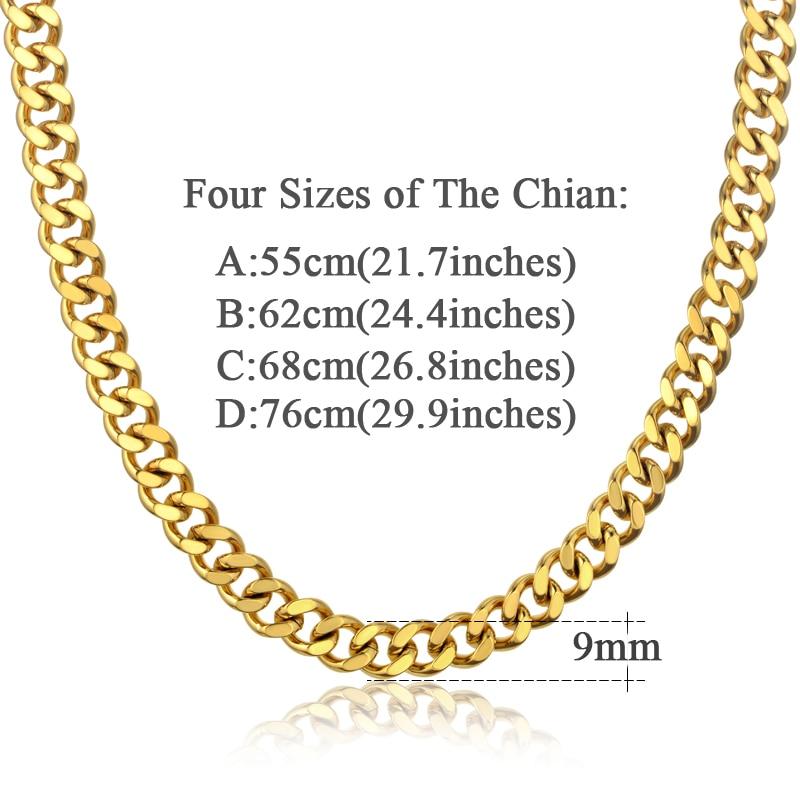 Vrat Heavy Gold lanac za muškarce Veliki dugi ogrlice Muška zlatna - Modni nakit - Foto 4