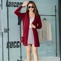 Твердые Женщин Свитер Кардиган Длинный 2016 Мода Корейских Женщин Свитер Марка 7 Цвет Повседневная Кардиган Женщины Свитер С Длинным Рукавом