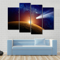 4 Pcs Set Large Landscape Meteor Hitting Mars Atmosphere Print On Canvas Painting Abstract Galaxy Wall