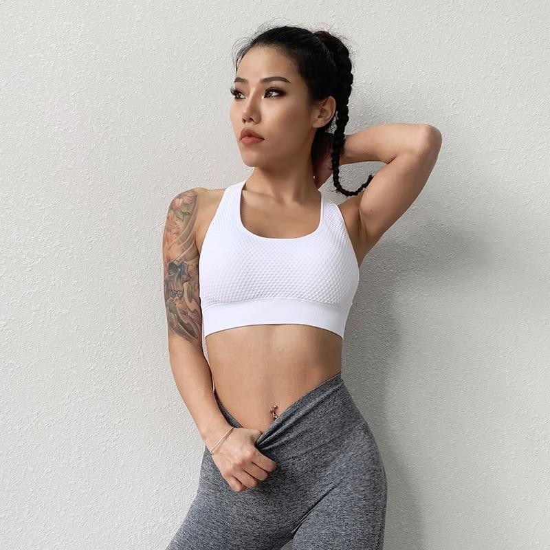 Купить спортивный бюстгальтер с подкладкой для бега фитнеса укороченный