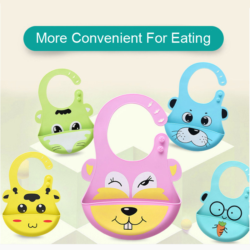 New Design Baby Bibs Waterproof Silicone Feeding Baby SalivaTowel Wholesale Newborn Cartoon Waterproof Aprons Baby Bibs DS19