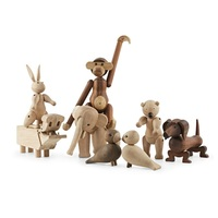 Nordic Style Wooden Animals Monkey Bear Dog Duck Rabbit Figurines Creative Puppets Kids Room Home Decor Arts & Crafts Toys