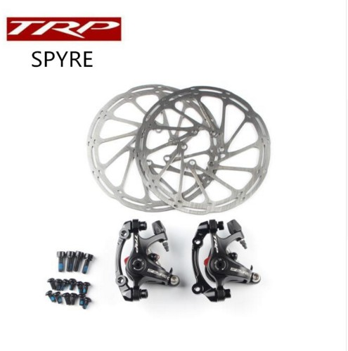 TRP Spyre road bike bicycle Alloy Mechanical Disc Brake Set Front & Rear Include 160mm rotor bicycle mountain bike 7 21 speed 26x 4 0 fat bike road bike front and rear mechanical disc brake spring fork alloy wheels bike