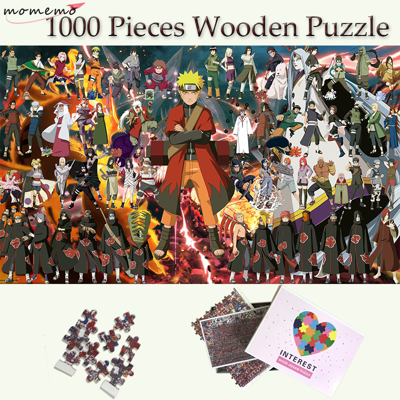 MOMEMO The Whole Naruto People Jigsaw Puzzles 1000 Pieces Wooden Puzzle Adults Toys Customized Naruto Wooden 1000 Pieces Puzzle