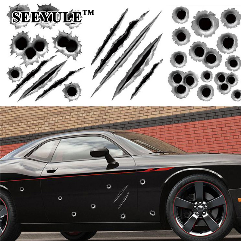 1ks SEEYULE Funny Car Stickers 3D Bullet Hole Sticker Motocykl Scratch Bullethole Gunshot Emblem Battle damage Car Decals