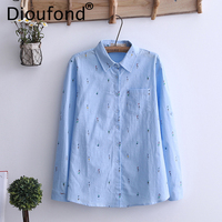 Dioufond Character Print Cotton Linen Shirt Women Long Sleeve Pocket Casual Blouses Turn Down Collar Tops Fashion 4 Colors
