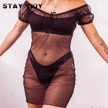 STAY TIDY Sexy Black Mesh Transparent Lace Up Bow Adjustable Collar Mini Dress 2019 Summer Women Short Sleeve Party Club Dresses