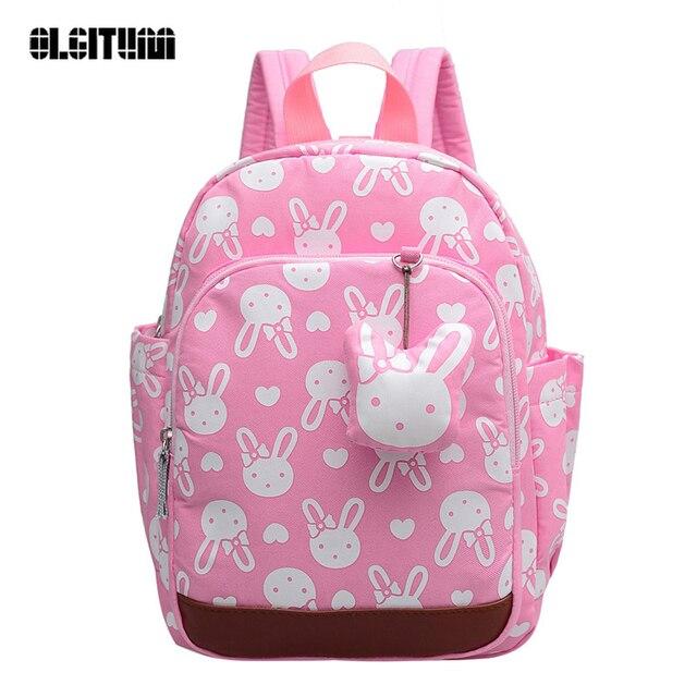 Корейской версии 2017 Новинка Детский сад Анти-потерянный школьная сумка зрачка детей милый кролик школы bagsV089