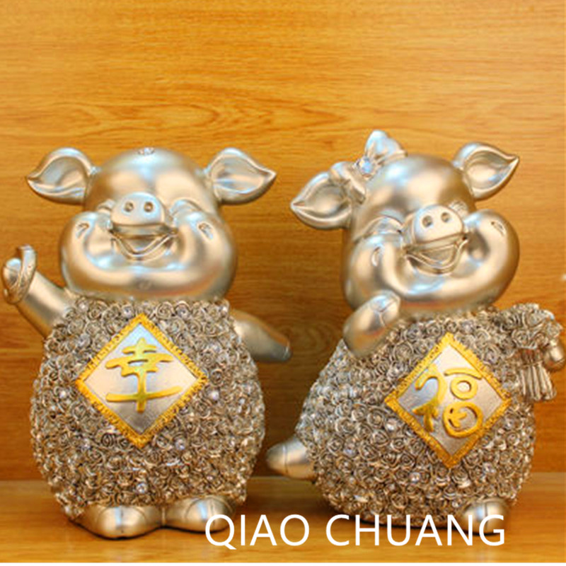 29.5CM Fashion Creative Wedding Decorations Gifts Home Furnishing European Couple Happy Pig Exquisite Resin Handicrafts S422 9927 happy old couple resin garniture adornment multicolored 2 pcs
