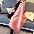 Bufanda de Marca de lujo de Las Mujeres de Lana de Cachemira Capa Duble Bufanda Echarpes Bufanda Carta Cálida Manta Mantón de La Bufanda Suave de Las Mujeres