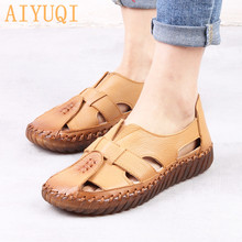 AIYUQI Women's Sandals 2018 Summer Genuine Leather Gladiator Ladies Shoes. Leather Sandals Women Flats .Retro Style Mother Shoes gktinoo women s sandals 2018 summer genuine leather handmade ladies shoe leather sandals women flats retro style mother shoes