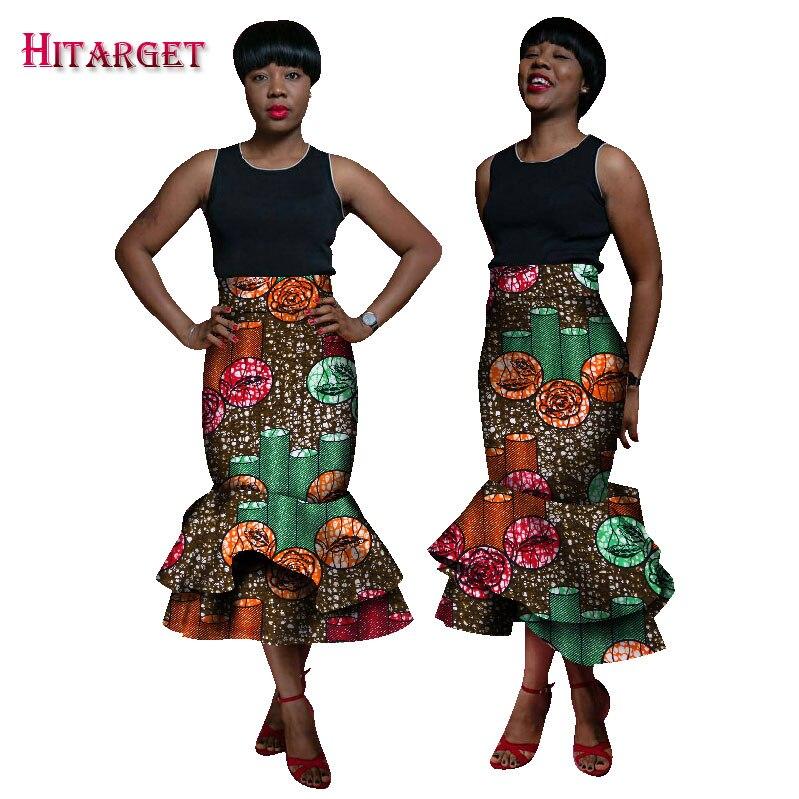 2019 automne femmes africaines vêtements Double couche sirène jupes Bazin cire imprimé jupes empilées Dashiki vêtements africains WY1786