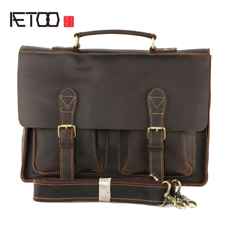 AETOO Retro first layer Crazy horse cowhide men Messenger bag briefcase happy child girl toys electric toy plush pet dog cute and funny simulation dog