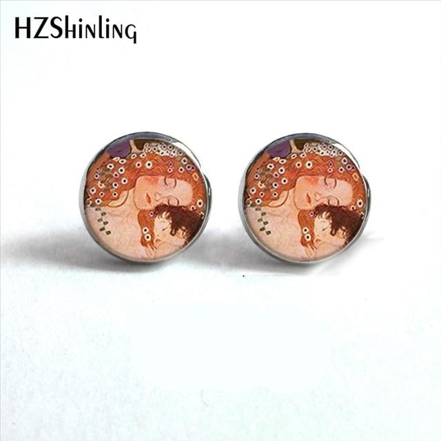 Nes 0098 Klimt S Mother And Child Earrings The Kiss Ear Studs Gustav Art Stud