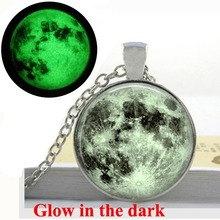Glowing Full Moon necklace Full Moon Jewelry Lunar space antique bronze necklace Glow in the DARK(China)