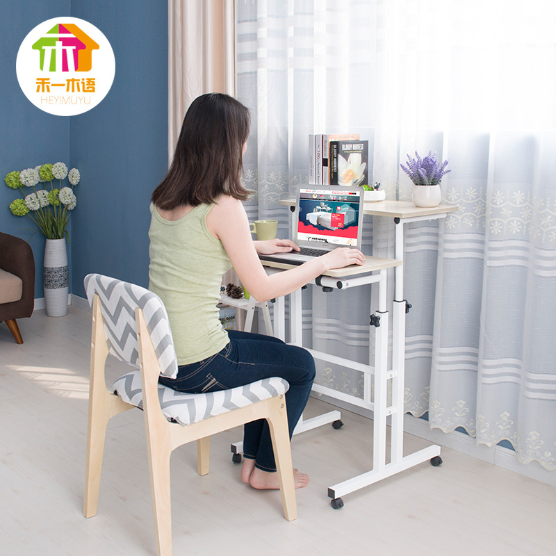 Free Lifting And Moving Sit-Stand Desk TV Mount Office Workstation Computer Table With U ...