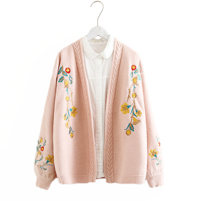 830ec2398 Adomoe Autumn Female Knitted wear Winter Cardigan Women s Lazy Lantern  Sleeves Flowers Embroidery Loose Floral Thick
