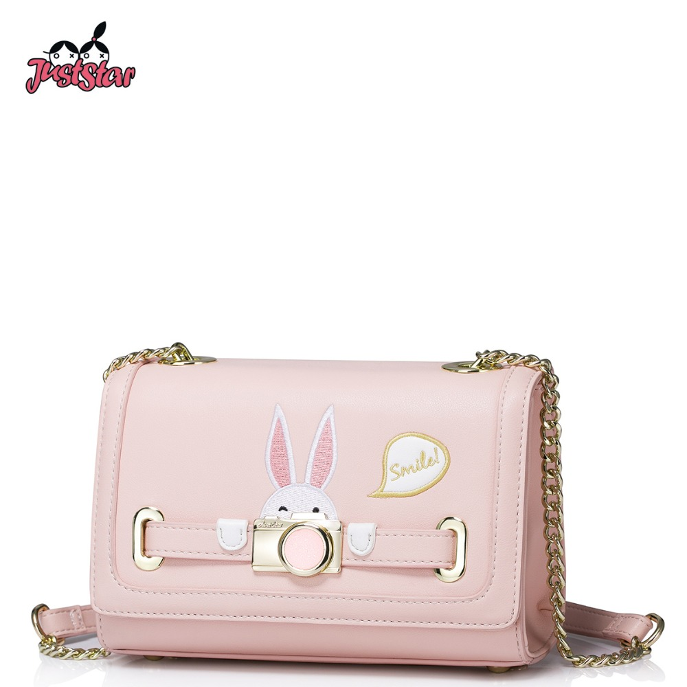 ФОТО JUST STAR Women's PU Leather Messenger Bags Ladies Embroidery Rabbit Shoulder Bag Female Chains Flap Crossbody Bags JZ4286