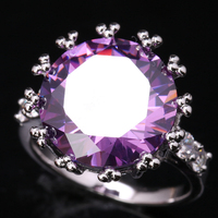 Breathtaking Circle Purple Zircon 925 Sterling Silver Trendy Party Jewelry Ring US# Size 6 / 7 / 8 / 9 S1618