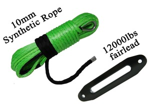 """Image 1 - Free shipping Green 3/8""""*100ft  Winch Rope with 10"""" Winch Fairlead,Tow Rope Car"""
