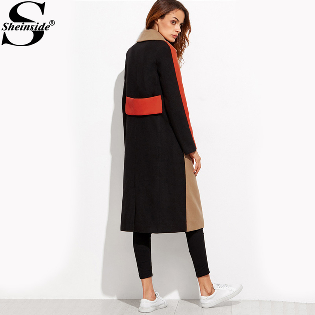Sheinside Patchwork Double Breasted Coats Women Camel Long Sleeve Color Block Casual Long Outer Winter Work Ladies Coat 1