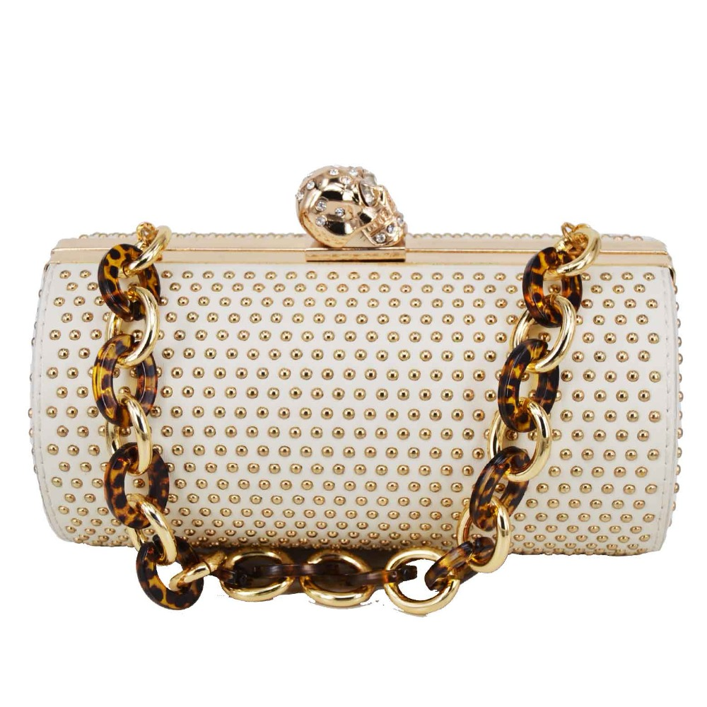 Golden Rivet Cylinder Designer Skull Luxury Shoulder Bags Chain Handbags Female Messenger Bag