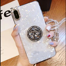 Luxury Bling Conch Shell Soft Phone Case For Huawei Honor 10 Lite Honor 9 9i 9Lite 8X 7s 7A V10 V9 Play Ring Stand Holder Cover beautiful glass mobile phone funda cover for huawei honor 10 8x 8x max 9 9i 9lite note10 v10 v9 y9 2019 mate 20 lite p30 pro