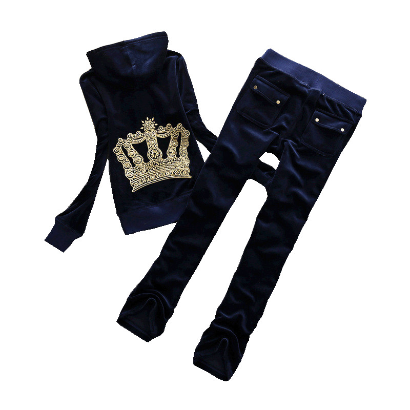 High Quality Velvet Fabric Tracksuits Velour Outfits Women Track Suit Tops and Pants Set S XXL