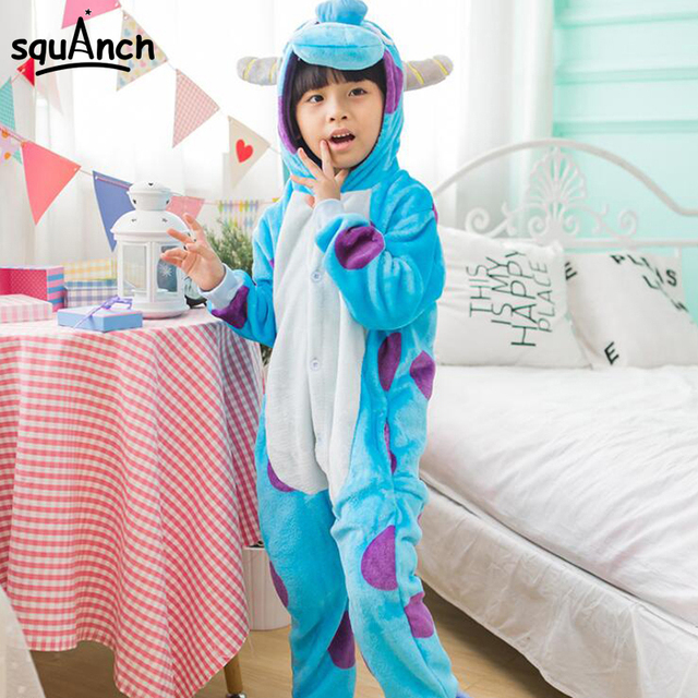 16f8abefe55b Sullivan Monster Onesie Kids Animal Cartoon Sully Pajamas Children Boy Girl  Party Suit Blue Lovely Winter Home Wear Flannel Warm