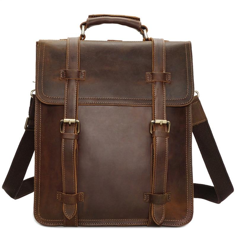 Nesitu Vintage Brown Genuine Leather Men Backpacks Large Capacity Crazy Horse Leather Man Travel Bags Shoulder Bags #M8062 все цены