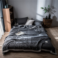 Nordic Home Textile Summer Quilt Blankets Soft Comforter Bedding Quilts Solid Color Quilted Gray Air Conditioner Summer Quilts