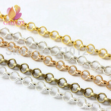 GHRQXC 2 метра 3,2 мм бронза/золото/серебро металлические звенья цепи фурнитура ювелирные изделия сделать ожерелье Браслеты
