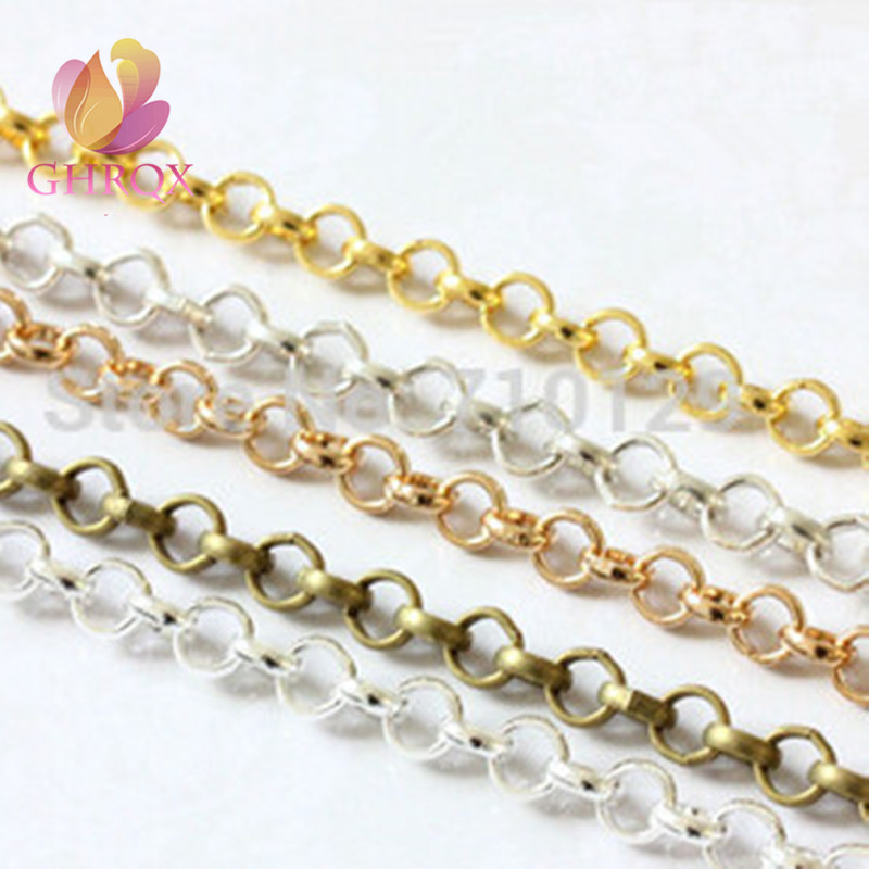 GHRQXC 2meter  3.2 Mm Bronze/Gold/ Silver Metal   Link Chains Findings Fashion Jewelry Make  Necklace Bracelets