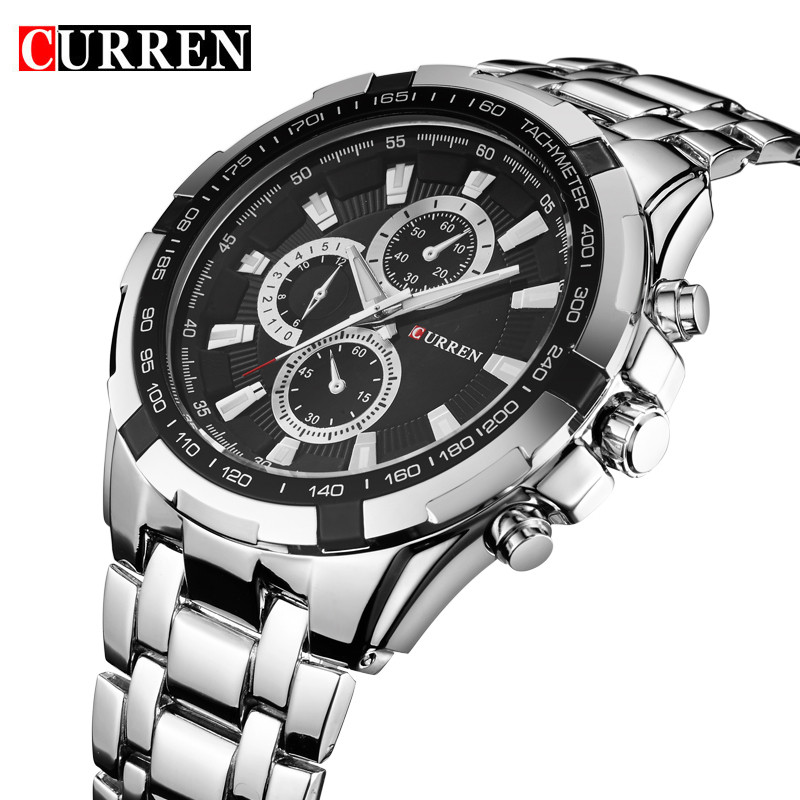 цены  Curren Military Sport Mens Watches Top Brand Luxury Stainless Steel Quartz Men Watch Fashion Casual Male Clock Relogio Masculino