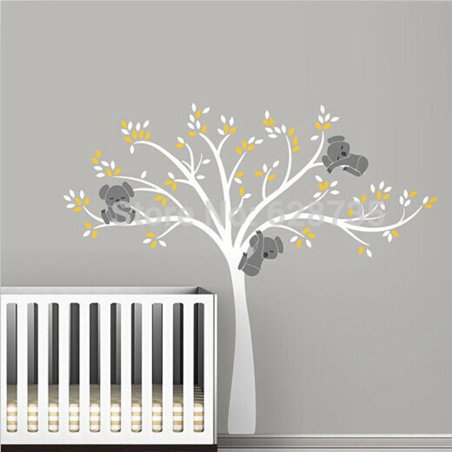 Large size bear tree wall sticker for kids koala for Collant mural hibou