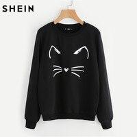 SHEIN Cartoon Cat Print Sweatshirt Long Sleeve Casual Women Pullovers Black Round Neck Cute Sweatshirt For