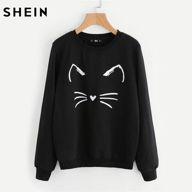 d54883fc0a SHEIN Cartoon Cat Print Sweatshirt Long Sleeve Casual Women Pullovers Black  Round Neck Cute Sweatshirt for