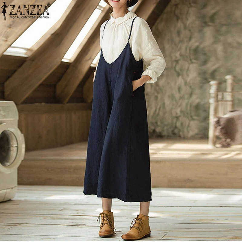 ZANZEA 2018 Summer Women Bib Overalls Rompes Casual Strappy Loose Wide Leg Pants Jumpsuits Sleeveless Oversized Baggy Dungarees