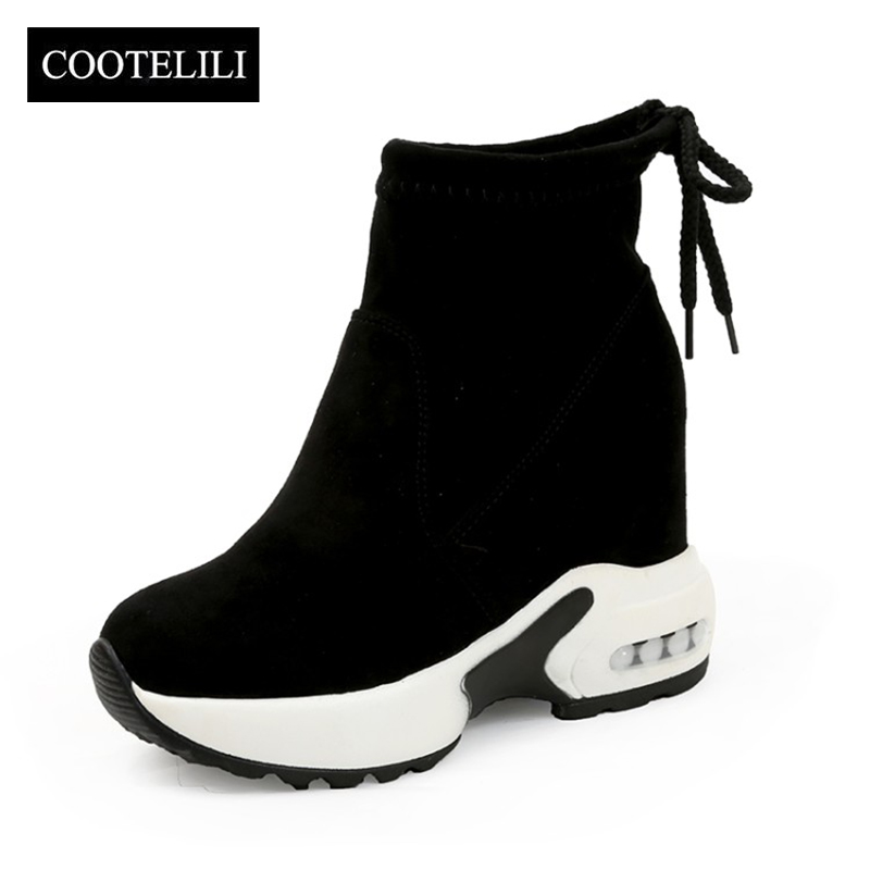 COOTELILI Ankle-Boots Increasing Shoes Women High-Heels Autumn Winter Fashion Ladies
