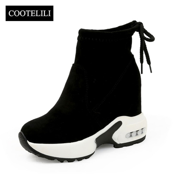 COOTELILI Fashion Increasing Shoes Women High Heels Ankle Boots For Women Autumn Winter Rubber Boots Women Pumps Ladies 35-39
