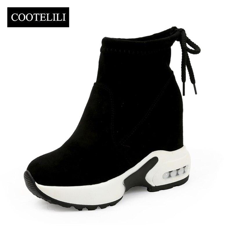 7d0e1bebd3f Comprar COOTELILI Moda Aumentando Sapatos Mulheres Botas De Salto ...