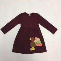 Cotton Beautiful Girls Thanksgivin Clothes Long Sleeve DressTurkey Top Wholesale Children's Boutique Clothing For Kids T006