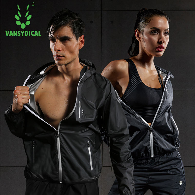Image 2 - 2019 VANSYDICAL Sweat Suit Womens Mens Sports Running Suits Fitness Lose Weight 2pcs Gym Sportswear Fitness Track Training Suits-in Running Sets from Sports & Entertainment on AliExpress