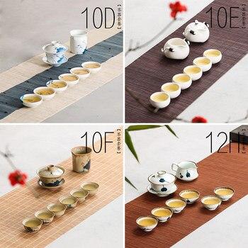 Chinese Handmade Ceramic tea cup set teapot White Kung fu tea set gaiwan Small tea bowl painted porcelain Japanese Style