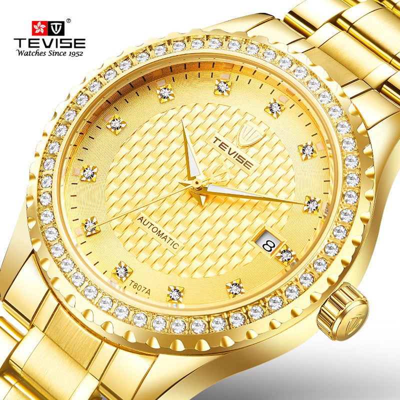 Tevise Brand Men's Mechanical Watch Fashion Luxury Stainless Steel Gold Watch Automatic Men's Diamond Clock Relogio Masculino tevise fashion mechanical watches stainless steel band wristwatches men luxury brand watch waterproof gold silver man clock gift