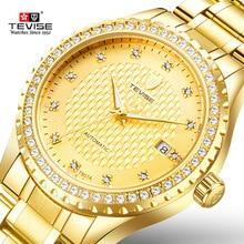 Tevise reloj mecánico de acero inoxidable para hombre, dorado, automático, con diamantes, Masculino