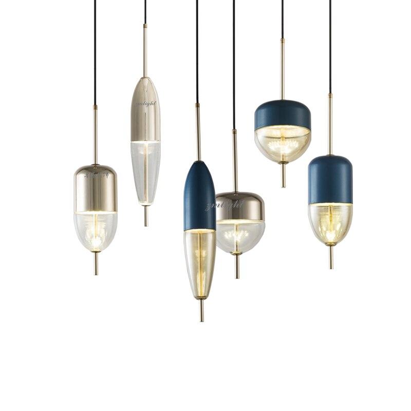 Luz pingente de bola de vidro simples e moderno LED E27 art deco Europa lâmpada de suspensão com 8 estilos para quarto cozinha do restaurante parlor