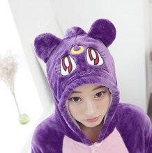 Аниме Сейлор Мун Косплей Диана пижамы мультфильм животных пижамы комплекты Фиолетовый кот для женщин и девочек зима-осень теплая домашняя одежда