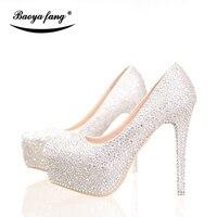 BaoYaFang Argent cristal Strass chaussures de mariage des femmes De Mariée Haute talons Plate-Forme chaussures femme chaussures de robe de partie femelle